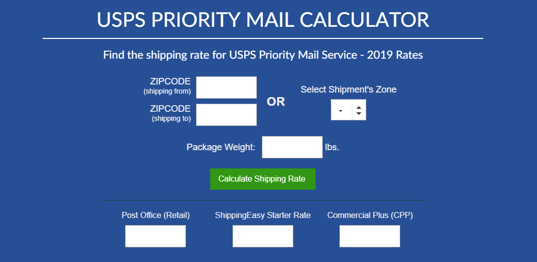 USPS Priority Mail Calculator