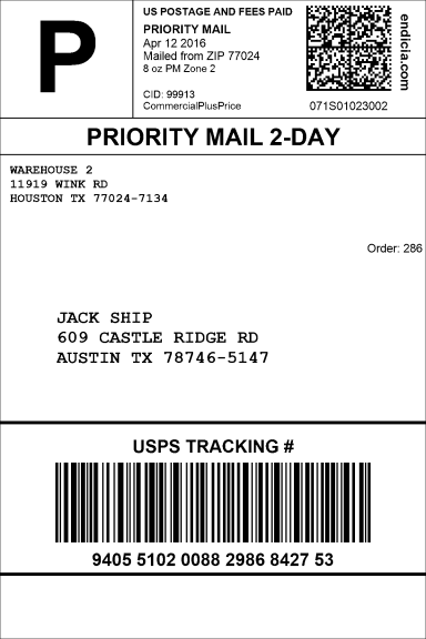 Example of a USPS Priority Mail shipping label