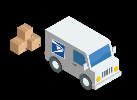 Digital design of USPS shipping truck delivering packages.