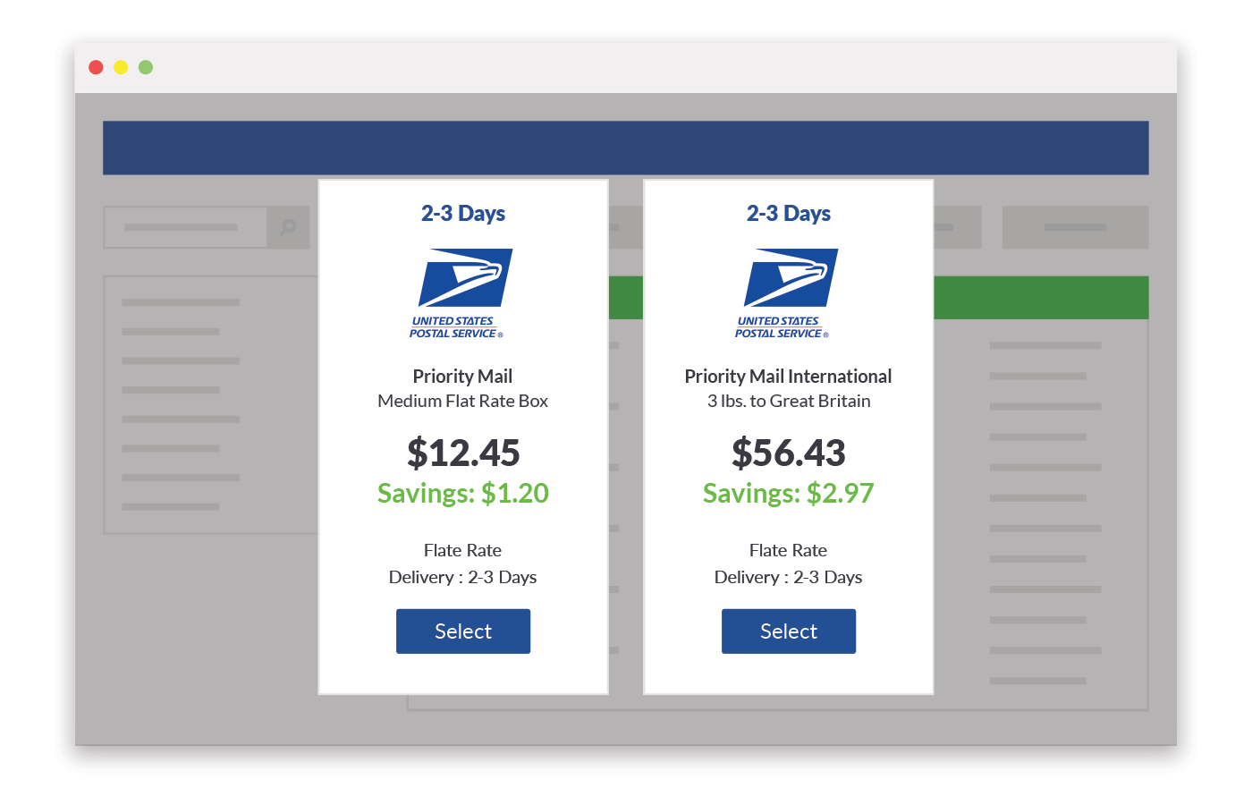 USPS shipping price comparison preview of ShippingEasy platform.