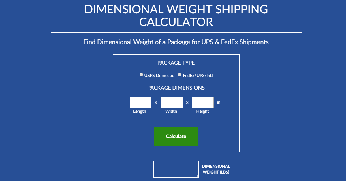 Shipping Calculator - Dimensional Weight | ShippingEasy