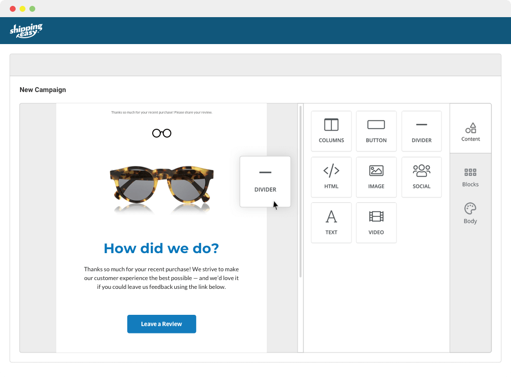 ShippingEasy automated email builder