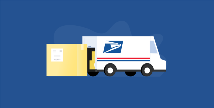 USPS truck delivering package with Priority Mail label on it